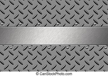 Rivets in steel background. Copy space
