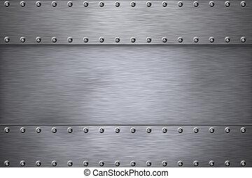 Steel  - Rivets on brushed steel background.