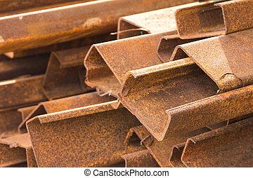 Steel rod - Rust steel rod or bars in warehouse