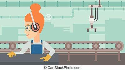 steel-rolling, mill., mujer, trabajando