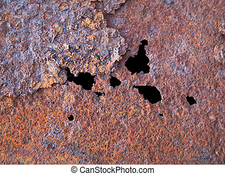 Steel rotten sheet with through corrosion background
