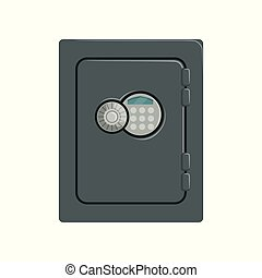 Steel safe box, safety business box cash secure protection concept vector Illustration