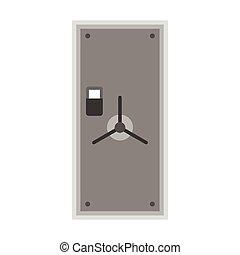 Steel safe door icon, flat style