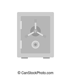 Steel safe icon, flat style