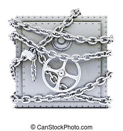 steel safe in chains. isolated on white background.