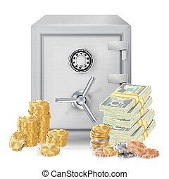 Steel Safe Security Concept Vector. Metal Coins. Vector Isolated Illustration. Investment Concept.