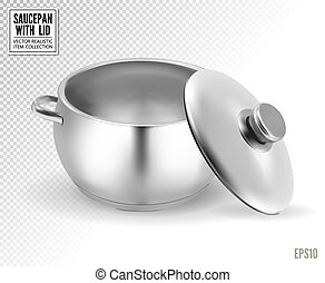 Steel saucepan on a transparent background. Vector illustration template ready for your design. EPS10.