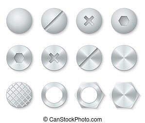 Steel screws, nuts, bolts, rivets heads vector set