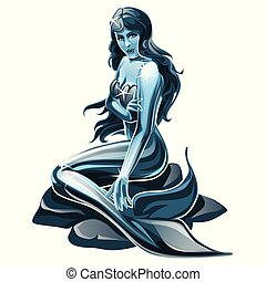 Steel sculpture of a mermaid isolated on white background. Vector cartoon close-up illustration.