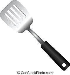 Steel Serving Spatula - Steel kitchen spatula isolated on...