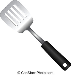 Steel Serving Spatula - Steel kitchen spatula isolated on...
