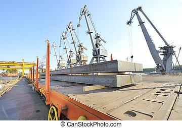 steel sheet cargo on railway