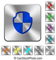 Steel shield buttons