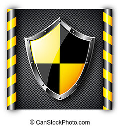 Steel shield over black dotted background.