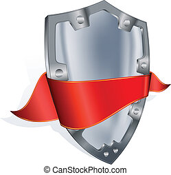 Steel shield with red ribbon