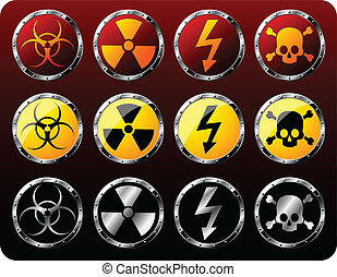 Steel shields with warning symbols