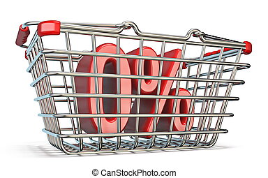 Steel shopping basket 0 PERCENT sign 3D render illustration...