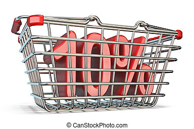 Steel shopping basket 10 PERCENT sign 3D render illustration...