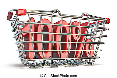 Steel shopping basket 100 PERCENT sign 3D render...