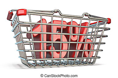 Steel shopping basket 15 PERCENT sign 3D render illustration...