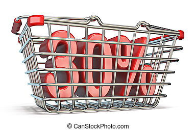 Steel shopping basket 30 PERCENT sign 3D render illustration...