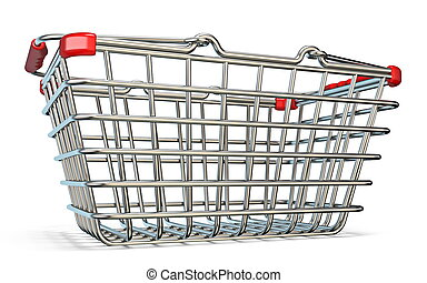 Steel shopping basket 3D render illustration isolated on...