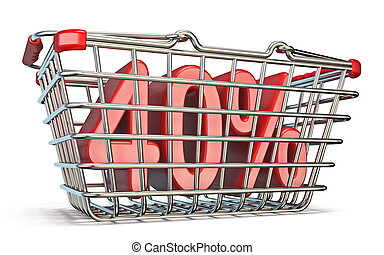 Steel shopping basket 40 PERCENT sign 3D render illustration...