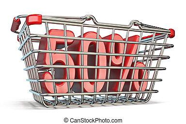 Steel shopping basket 50 PERCENT sign 3D render illustration...