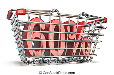 Steel shopping basket 60 PERCENT sign 3D render illustration...