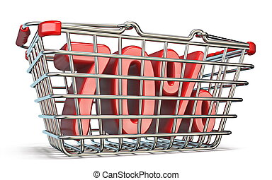 Steel shopping basket 70 PERCENT sign 3D render illustration...