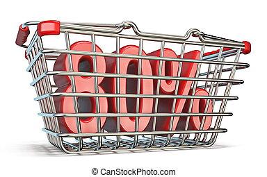 Steel shopping basket 80 PERCENT sign 3D render illustration...