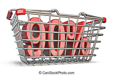 Steel shopping basket 90 PERCENT sign 3D render illustration...