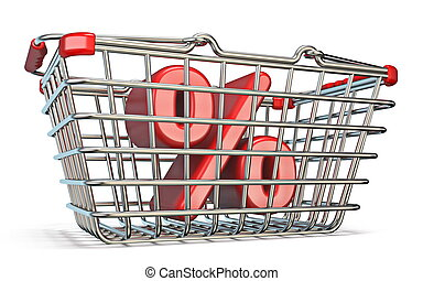 Steel shopping basket PERCENT sign 3D render illustration...