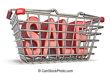 Steel shopping basket SALE sign 3D render illustration...