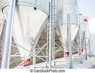 Steel silos for flour.