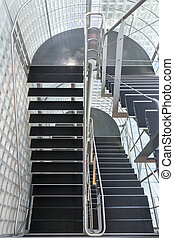 Steel stairway in a modern office building