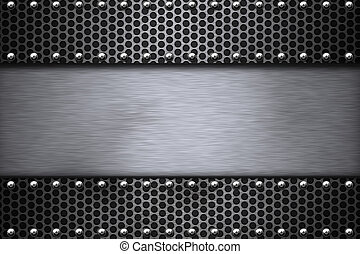 Steel  - Grill pattern riveted to brushed steel background.
