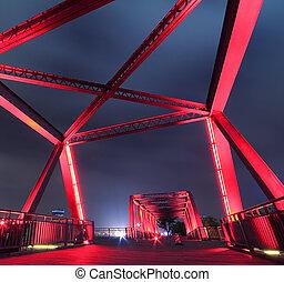 Steel structure bridge close-up at night landscape