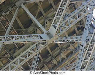 steel structure under a bridge