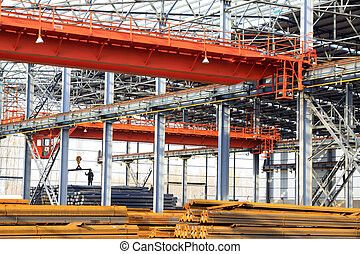 Steel structure workshop and raw materials