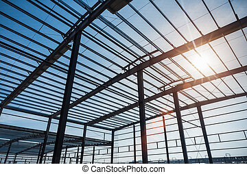 steel structure workshop in construction, steel frame ...