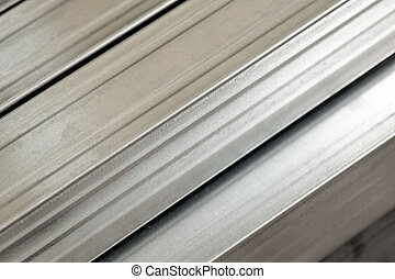 Steel studs - Close up of galvanized metal studs used in...