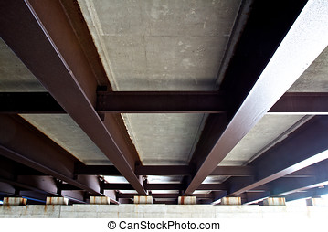 Steel Support Beams - Underground view of steel support...