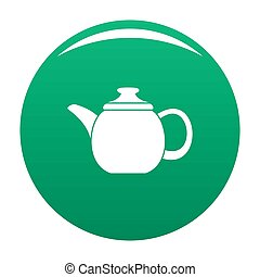Steel teapot icon green