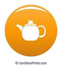 Steel teapot icon orange