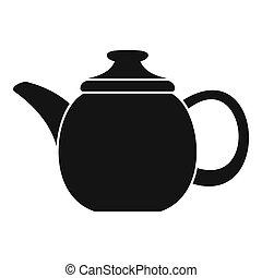 Steel teapot icon, simple style