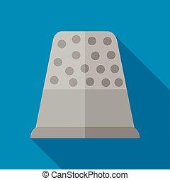 Steel thimble icon, flat style