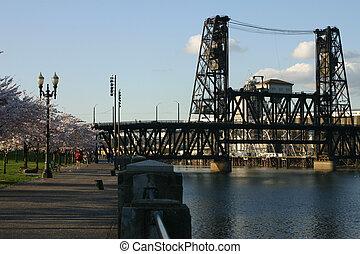 Steel train bridge in portland, oregon.