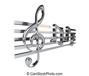 Steel treble clef and the stave with one-eighth notes, ...