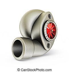 turbocharger - steel turbocharger isolated on a white...